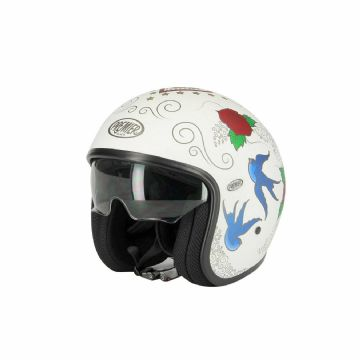 Premier Vintage SKM 18 Carbon Composite Motorcycle Bike Open Face Helmet White